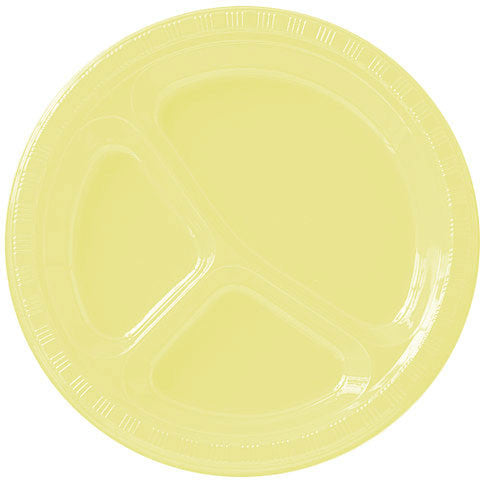 Light Yellow Divided Plastic Banquet Plates (20ct)