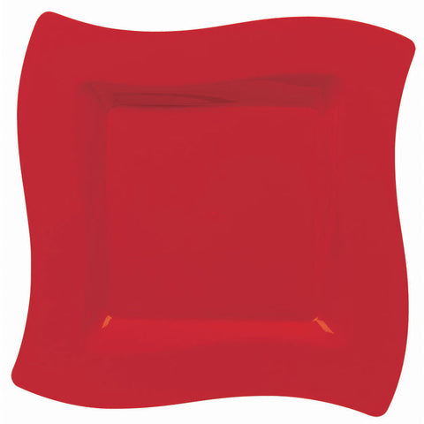 Apple Red Wavy Square Banquet Plates (10ct)