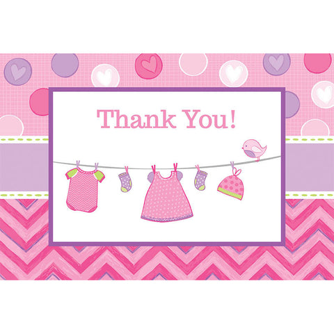 Shower With Love Girl Postcard Thank You Notes (8ct)