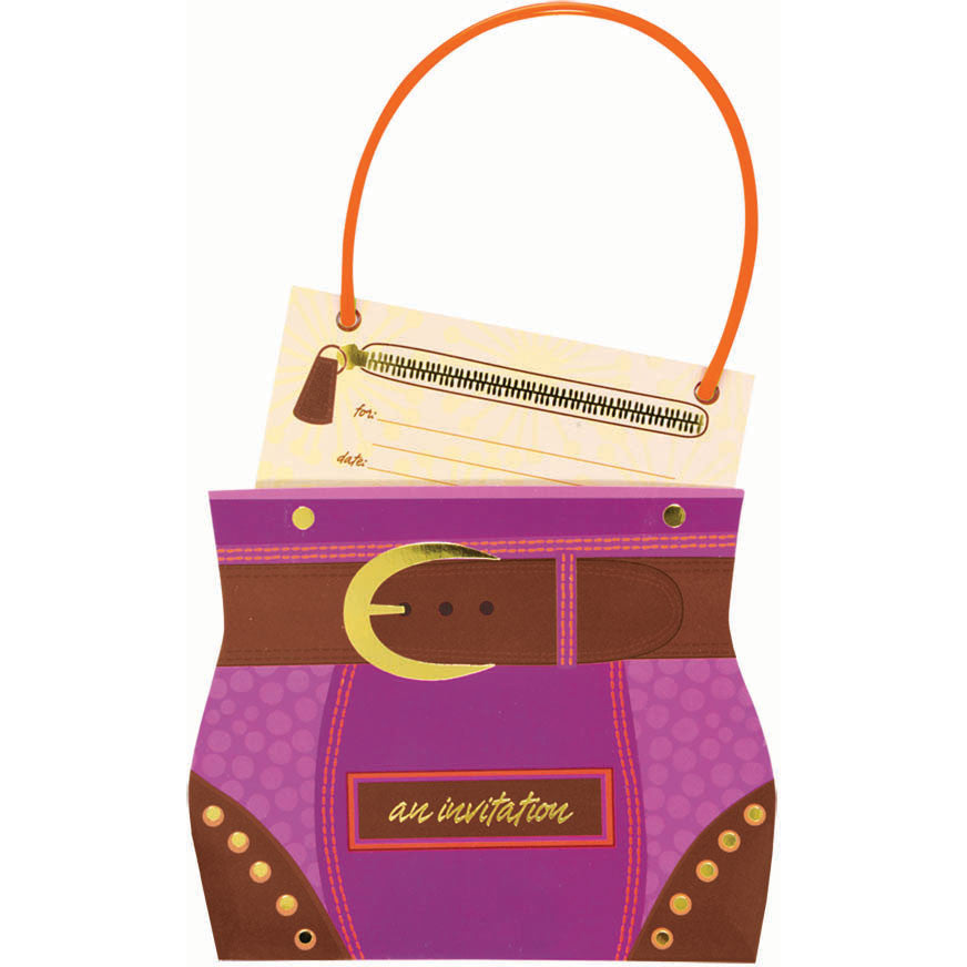 Hip Handbag Jumbo Novelty Invites (8ct)
