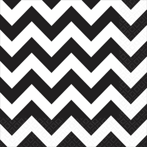 Jet Black Chevron Beverage Napkins (16ct)
