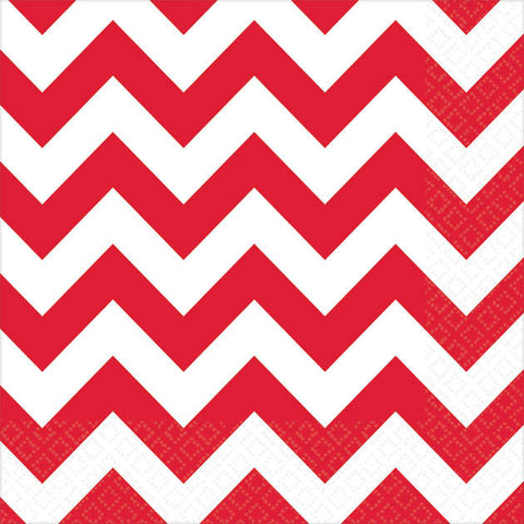 Apple Red Chevron Beverage Napkins (16ct)