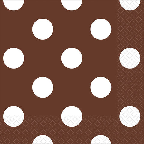 Chocolate Brown Dots Beverage Napkins (16ct)