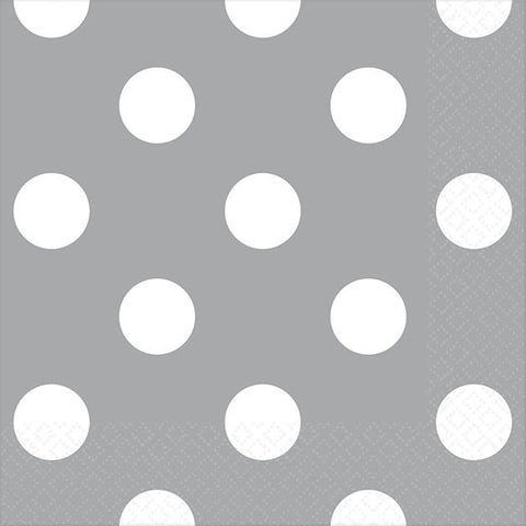 Silver Dots Beverage Napkins (16ct)