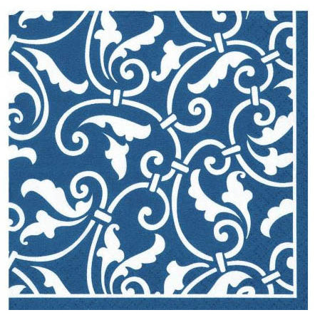 Bright Royal Blue Ornamental Scroll Beverage Napkins (16ct)