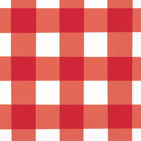 American Summer Red Gingham Beverage Napkins (16ct)
