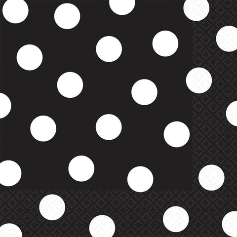 Jet Black Dots Luncheon Napkins (16ct)