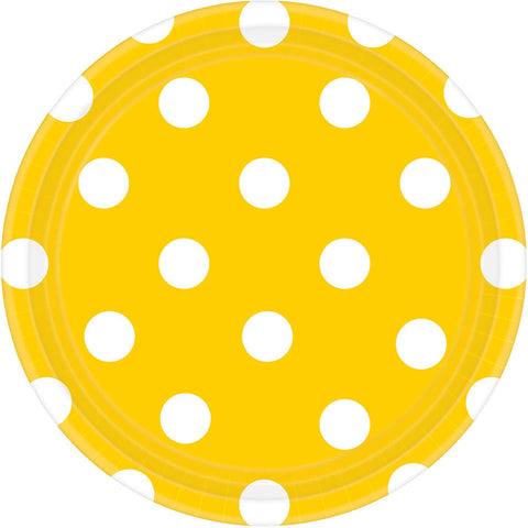 Sunshine Yellow Dots Dessert Plates (8ct)