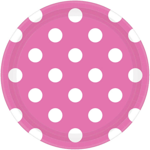 Bright Pink Dots Dessert Plates (8ct)