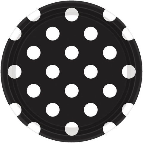 Jet Black Dots Dessert Plates (8ct)