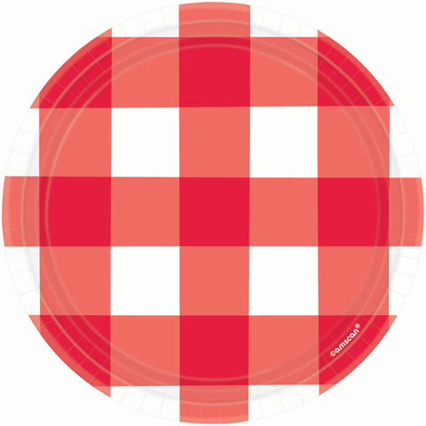 American Summer Red Gingham Dessert Plates (8ct)