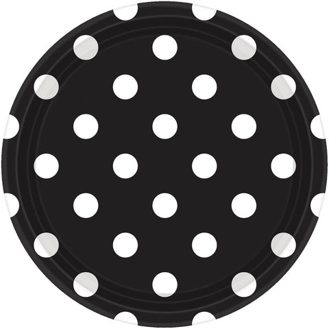 Jet Black Dots Dinner Plates (8ct)