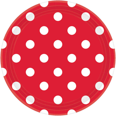 Apple Red Dots Dinner Plates (8ct)