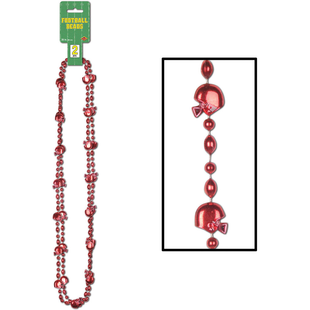 Red Beads with Football Helmets