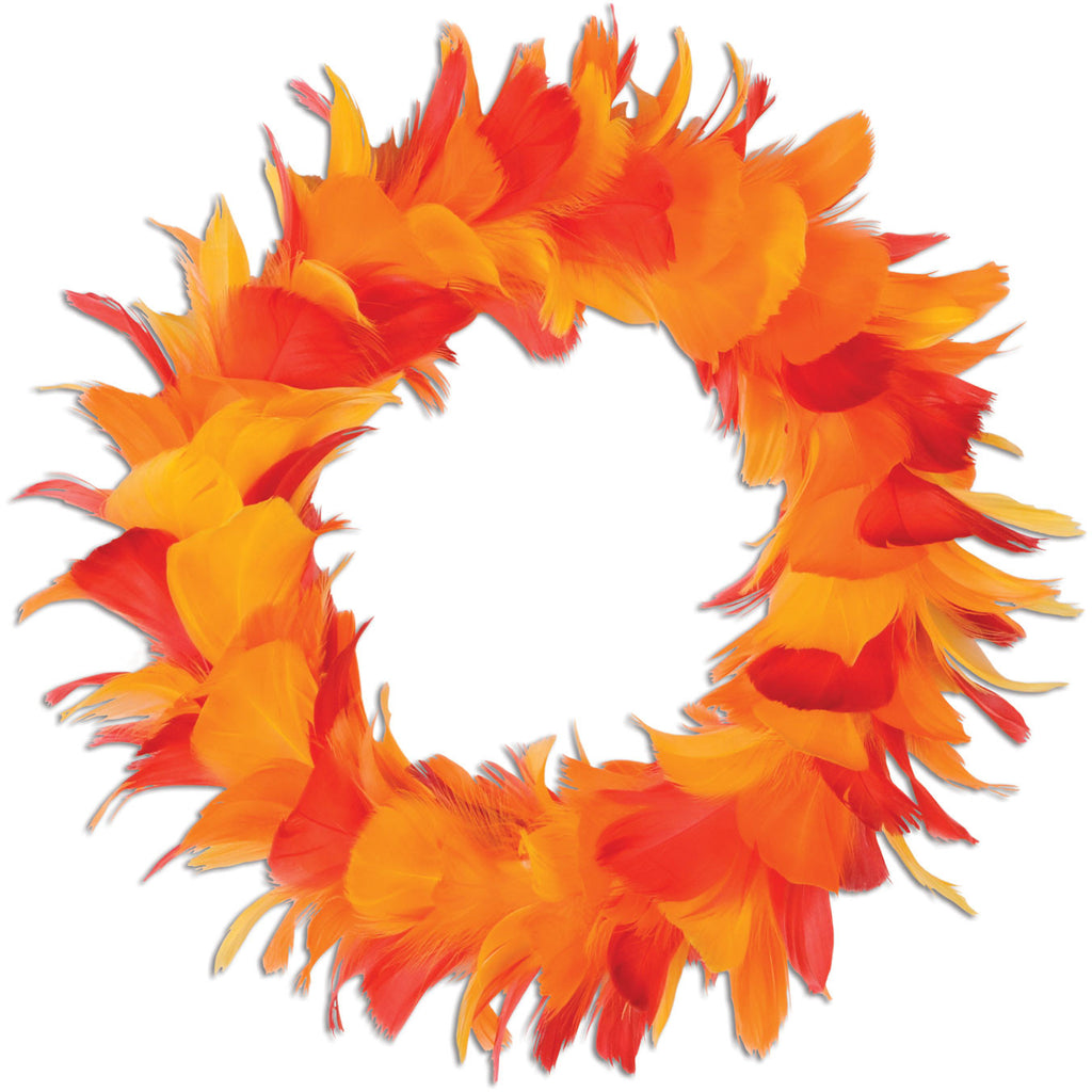 "8"" Gold, Orange, and Red Feather Wreath"