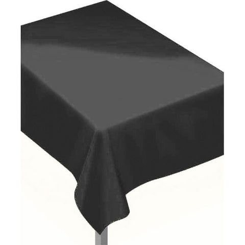 Jet Black Flannel-Backed Rectangle Vinyl Tablecover