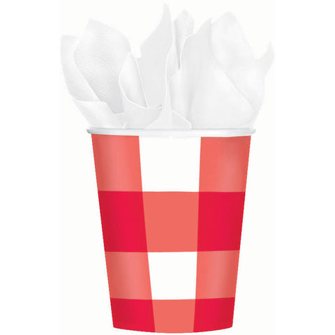 American Summer Red Gingham 9oz Paper Cups (8ct)