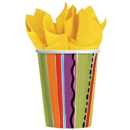 Fiesta Stripes 9oz Paper Cups (8ct)
