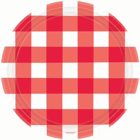 American Summer Red Gingham Banquet Plates (8ct)
