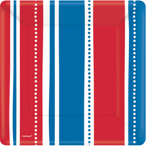 American Summer Stripes Banquet Plates (8ct)
