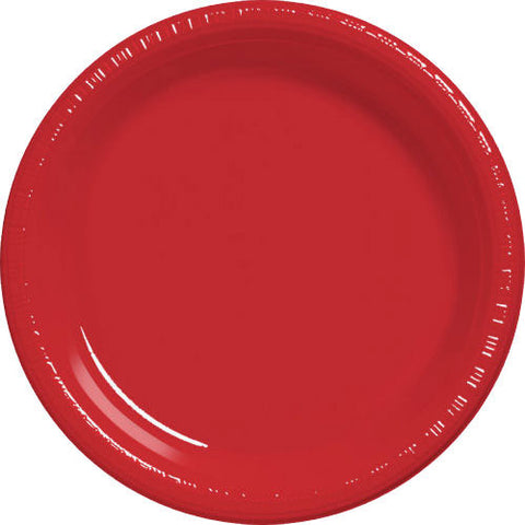Apple Red Plastic Banquet Plates (50ct)