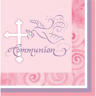 Faithful Dove Pink Communion Luncheon Napkins (16ct)