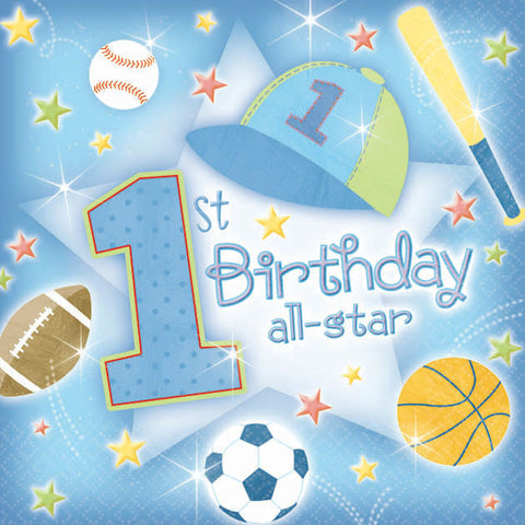 1st Birthday All Star Beverage Napkins (36ct)