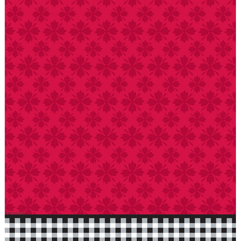 Cherry Gingham Plastic Tablecover