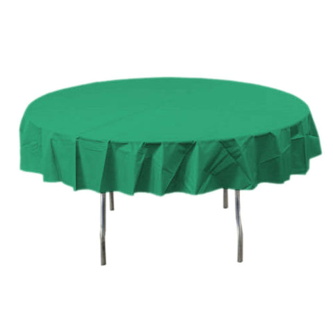 Festive Green Round Plastic Tablecover