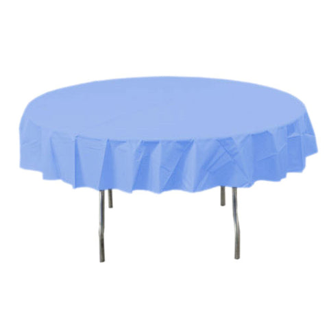 Pastel Blue Round Plastic Tablecover