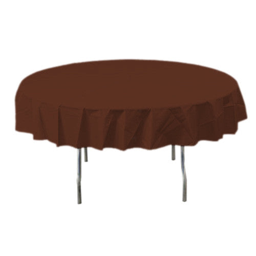 Chocolate Brown Round Plastic Tablecover