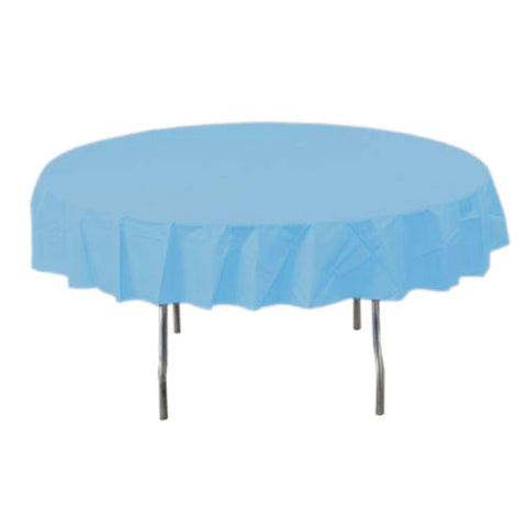 Powder Blue Round Plastic Tablecover
