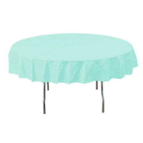 Robin's Egg Blue Round Plastic Tablecover