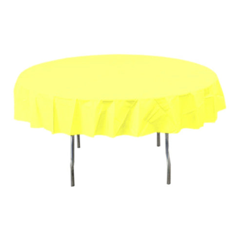 Light Yellow Round Plastic Tablecover