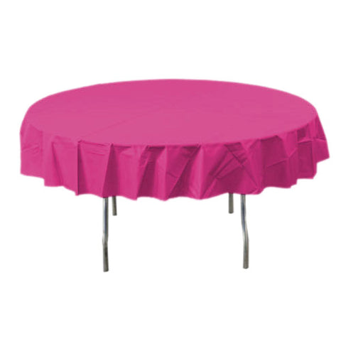 Magenta Round Plastic Tablecover