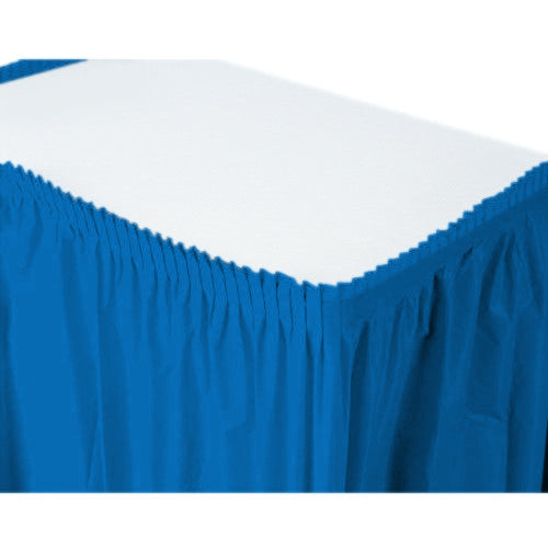 Bright Royal Blue Plastic Table Skirt