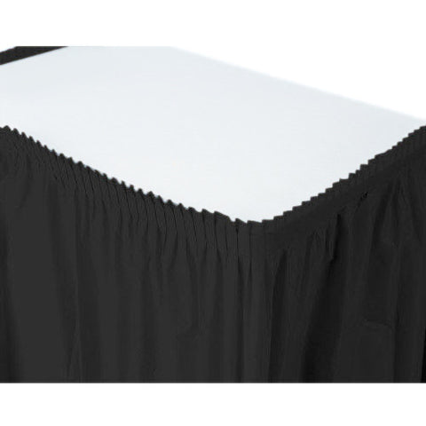 Jet Black Plastic Table Skirt