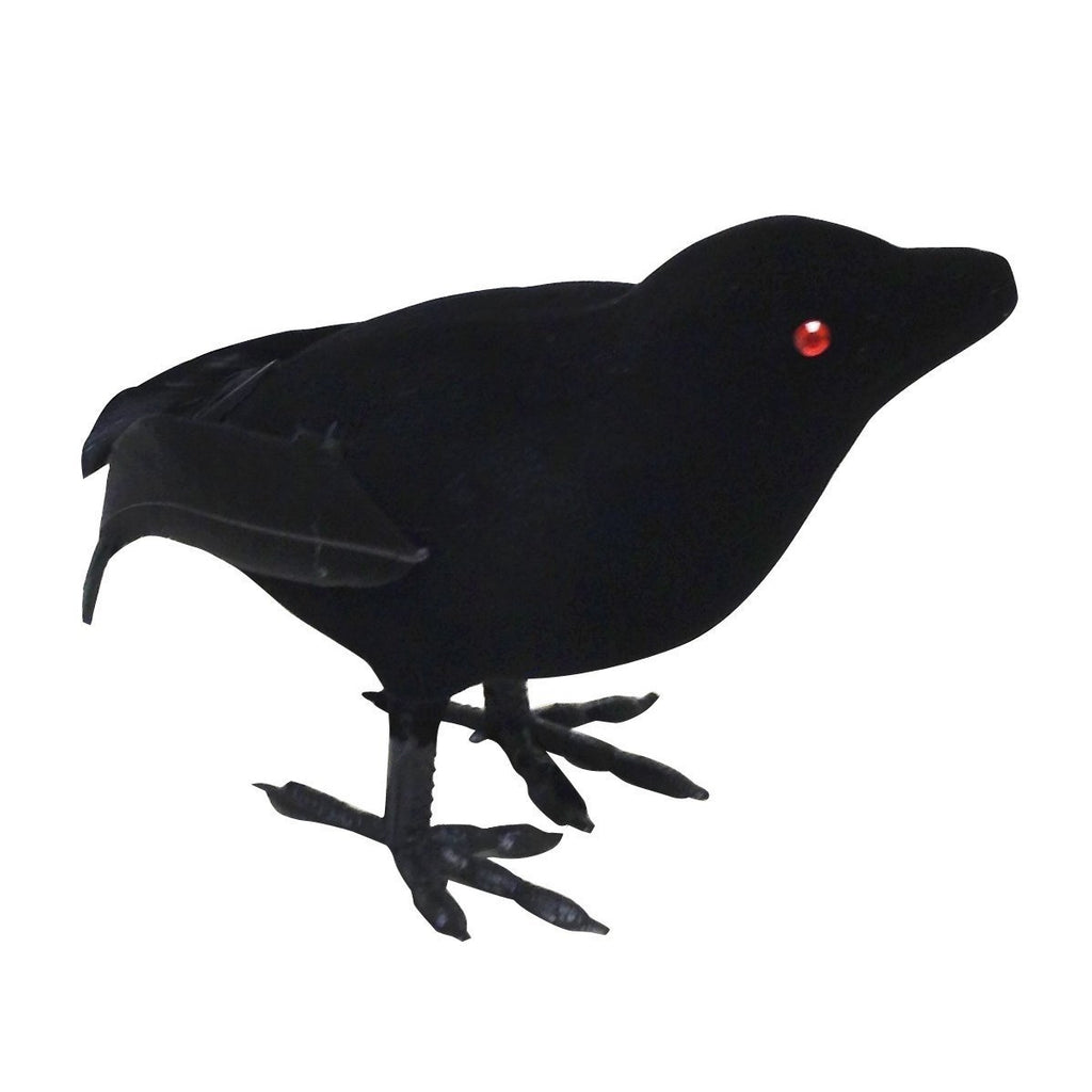 Sunstar Small Flocked Crow Halloween Decoration