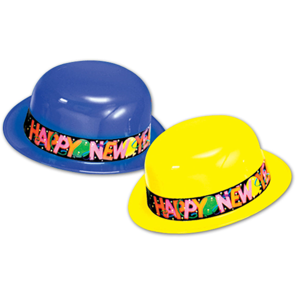 New Year Plastic Derby Hat (25ct)