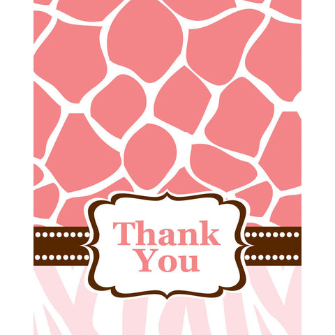 Wild Safari Pink Thank You Notes