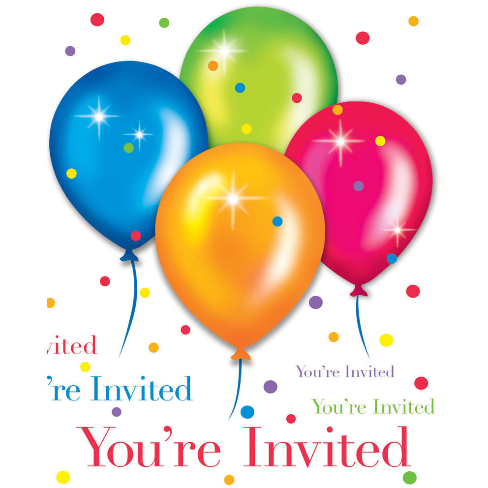 Birthday Balloons Invitations (8ct)