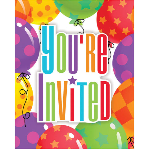 Balloon Patterns Invitations (8ct)
