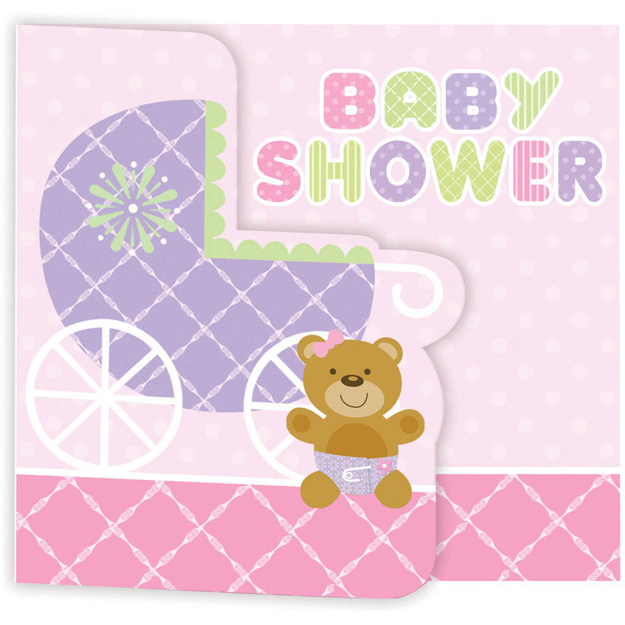 Teddy Bear Pink Invitation, Gatefold