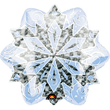 "18"" White Christmas Snowflake Prismatic Foil Balloon"