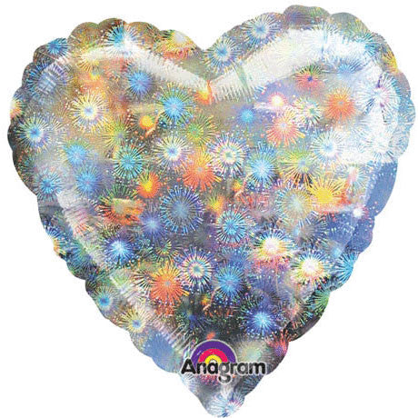 "18"" Fireworks Holographic Heart"