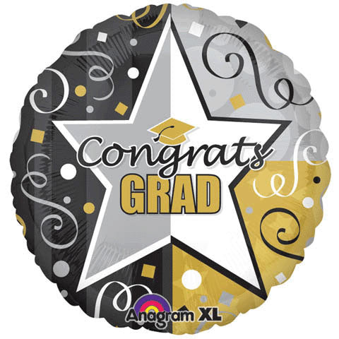 "32"" Congrats Grad Star Gold & Black"