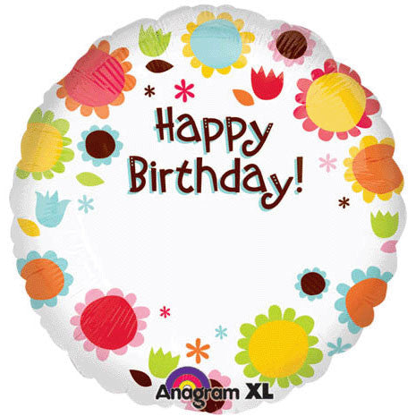 "18"" Happy Birthday Flowers Personalized"