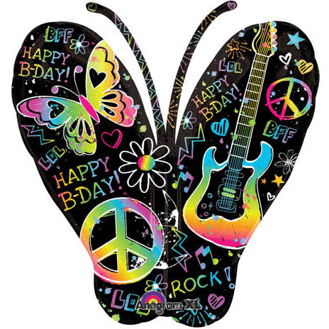 Neon Birthday Butterfly Super Shape