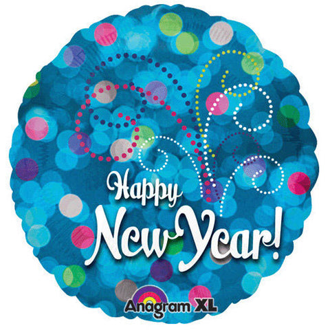 "18"" New Year In Blue Lights Foil Balloon"