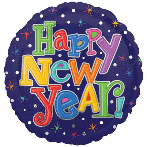 "18"" Multi-color New Year Foil Balloon"